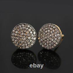 0.75 Diamond Pave 14K Gold Stud Earrings 925 Silver Women's Gift Fine Jewelry