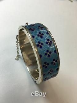 1 Vintage Silver Enamel Bangle Bracelet Antique 925 gem stone rare gift 925