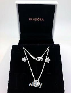 100% PANDORA 925 Sparkling Snowflake Jewelry Gift Set Necklace + Stud Earrings