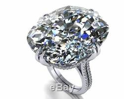 100ct Cocktail Party Ring 925 Sterling silver beautiful white Cushion shape gift
