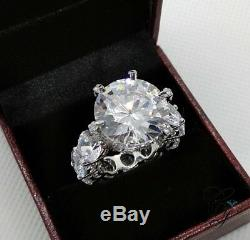 10Ct Six Prong White Round CZ Women Ring Cocktail Party Gift 925 Sterling Silver