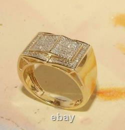 10K Yellow Gold Over Men's Ring 925 Silver Diamond Pinky Ring Gift For Birthday