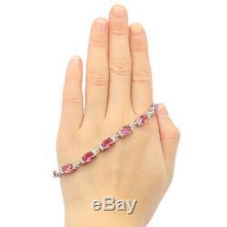 12x6mm Luxury12g Pink Tourmaline CZ Gift Woman's Jewelry Silver Bracelet 7-8.0