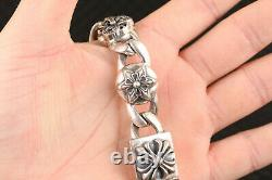 137g 100% S925 silver hand carving flower Statue bracelet noble ornament gift