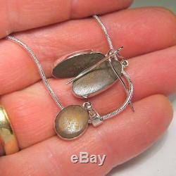 14ct Sterling Silver Australian Opal Earrings Pendant Inlay Jewelry Gift Set A01