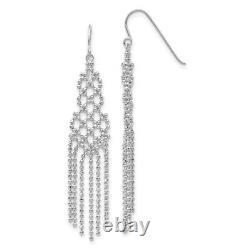 14k White Gold Beaded Drop Dangle Chandelier Earrings Fine Jewelry Women Gifts
