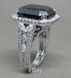 16.50 CT Halo Emerald Cut Black Diamond Engagement Wedding Ring 925 Silver Gift