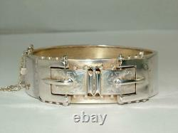 1886 Victorian Double Buckle Bangle Solid Silver Hinged Bracelet Full Hallmarks