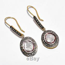 18K Victorian Natural Rose Cut Diamond & Polki 925 Silver Earring Jewelry Gift