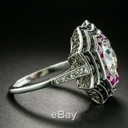 2.53 tcw Vintage Artdeco Spider web ruby onyx Engagement Ring In 925 Silver Gift