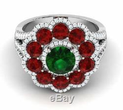 2.55 ct Green Round Cut Flower Engagement Wedding Ring In 925 Silver Gift Womens