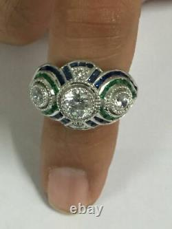 2.84 ctw Vintage Art deco Round cut Diamond Engagement Ring In 925 Silver Gift
