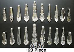 20 Vintage Necklace Pendants Silver Plate Antique Silverware Spoon Gift Idea Lot