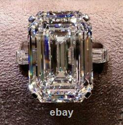 22CT Large Emerald Cut Engagement Cocktail Ring 925 Silver Jewelry Gift For Her