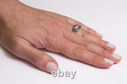 3 Stone Vintage Art Deco Blue Diamond Wedding 925 Sterling Silver Ring+Free Gift