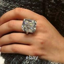 34 CT Georges White Asscher Cut Cocktail Ring Party 925 Silver Gift For Women