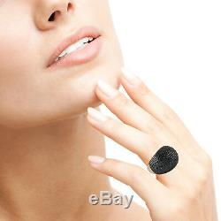 4.29ct Black Pave Diamond 925 Silver 18k Gold Dome Fine Ring Jewelry Women Gift