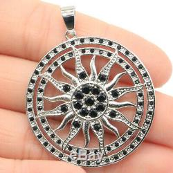 46x36mm Special Sun Black Sapphire Gift For Man Jewelry Making Silver Pendant