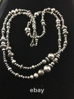 48 Long Navajo Pearls Native American Sterling Silver Mixed Bead Necklace Gift