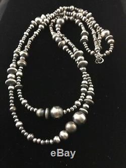48 Long Navajo Pearls Native American Sterling Silver Necklace Gift 346