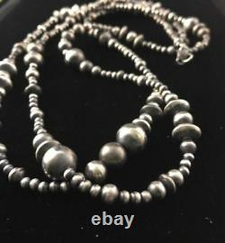48 Long Navajo Pearls Native American Sterling Silver Necklace Gift A346