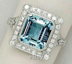 5.5 ct Aqua Blue Radiant Cut Halo Beautiful 925 Sterling Silver Ring Gift CZ