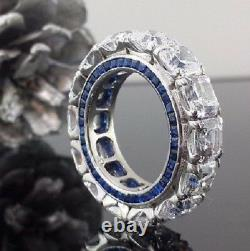 6 MM White Asscher Cut and Blue Princess Eternity Wedding Band 925 Silver Gift