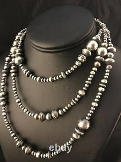 60 Long Navajo Pearls Native American Sterling Silver Necklace Gift Mixed Beads