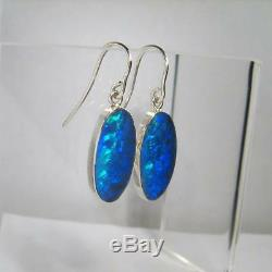 9.3ct Quality Sterling Silver Natural Inlay Opal Earrings Gem Jewelry Gift #889