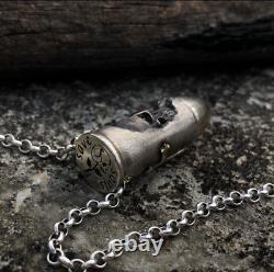 925 Silver Bullet Skull Necklace Bracelet Pendant Beads Women Men Birthday Gift