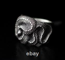 925 Silver Handmade Snake Design Ring Custom-made Original Men's Gift Retro