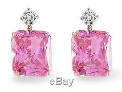 925 Sterling Silver 72tcw Pink Radiant Women Dangle Earrings Fine Jewelry gift