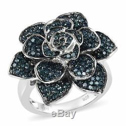 925 Sterling Silver Blue Diamond Flower Ring Gift Jewelry for Women Size 7 Ct 1