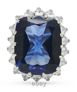925 Sterling Silver Cocktail Ring Created Blue Sapphire Cushion Pear CZ Gift her