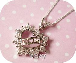 925 Sterling Silver Cubic Zirconia MOM MUM Heart Pendant Necklace Gift Boxed