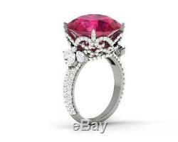 925 Sterling Silver Cz Celebrity Inspired Ring Party Engagement Pink Round Gift