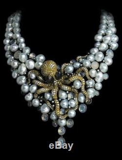 925 Sterling Silver Cz Necklace Freshwater Pearl Octopus Style Fancy Party Gift