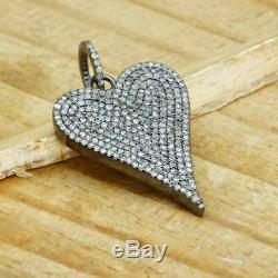 925 Sterling Silver Heart Pave Diamond Pendant, High Quality Jewelry, Gift GG
