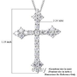 925 Sterling Silver Moissanite Cross Necklace Pendant Gift Jewelry Size 18 Ct 1
