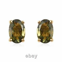 925 Sterling Silver Moldavite Stud Earrings Jewelry Gift For Women Ct 0.8