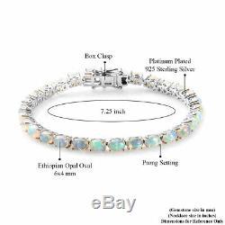 925 Sterling Silver Opal Tennis Bracelet Elegant Jewelry Gift Size 7.25 Ct 8.7
