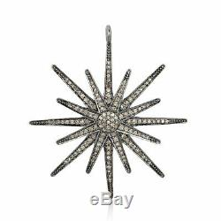 925 Sterling Silver Pave Diamond Starburst Pendant Fine Jewelry gift JP