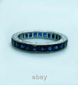 925 Sterling Silver Perfect Art Deco Engagement Gift Eternity Band 5 Ct Sapphire