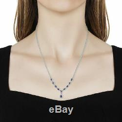 925 Sterling Silver Platinum Over Blue Tanzanite Necklace Jewelry Gift Size 18