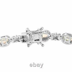 925 Sterling Silver Platinum Over Opal Zircon Bracelet Jewelry Gift Size 7.25