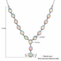 925 Sterling Silver Platinum Plated Opal Necklace Jewelry Gift Size 18 Ct 7