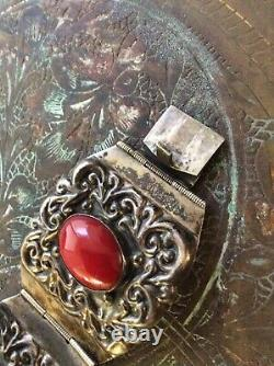 925 Sterling Silver Red Stone Coral Bracelet Cuff Vintage Jewel Gift Mexico ALC