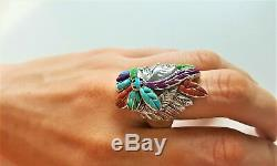 925 Sterling Silver Ring American Indian Chief Profile Coral Turquoise Opal Gift