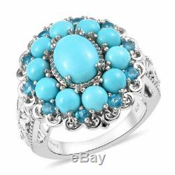 925 Sterling Silver Sleeping Beauty Turquoise Ring Gift Jewelry Ct 4.9