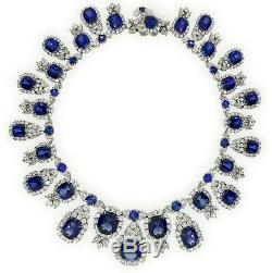 925 Sterling Silver Statement Necklace Blue Cushion Vintage Jewelry Gift Box her